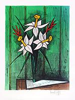 Signierte Originallithographie de  : Bouquet de jonquilles