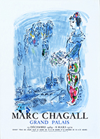 Lithograph poster de Chagall Marc : The magician of Paris