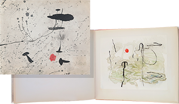 Book with lithograph de Miro Joan : Tracé sur l'eau