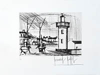 Original signed drypoint de  : Thoniers et Phare
