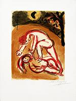 Original signed lithograph de  : Caïn et Abel