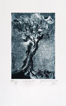 Signierte originale Radierung de  : L'olivier