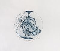 Signierte originale Radierung de  : Le miroir