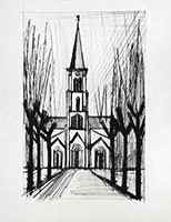 Original drypoint de Buffet Bernard : Church