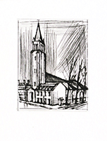 Original drypoint de Buffet Bernard : Saint-Germain-des-Prés church, first state