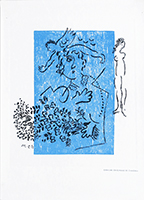 Original etching de Chagall Marc : Greetings card for Aimé Maeght