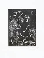 Original linocut de Chagall Marc : For Vava I