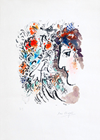 Lithographie originale signée de  : Profil aux fleurs rouges