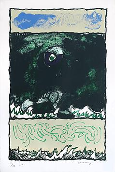 Lithographie originale signée de  : L'Oeil de l'encre