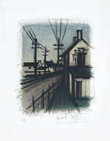 Original signed lithograph de  : La route du village