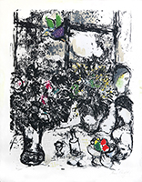 Lithographie originale signée de Chagall Marc : Nature morte au bouquet