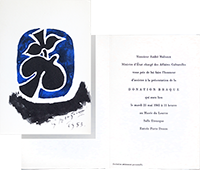 Exhibition invitation card de Braque Georges : Donation Braque