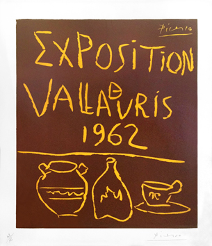 Original signed linocut de Picasso Pablo : Exhibition Vallauris 1962