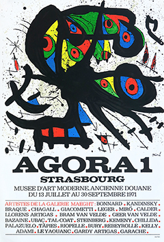 Original lithograph poster de Miro Joan : Exhibition Agora