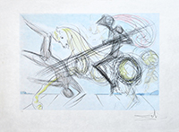 Original signed drypoint de Dali Salvador : Le grand tournoi