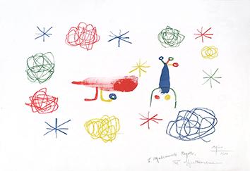 Lithographie originale signée de  : L'oiseau rouge II