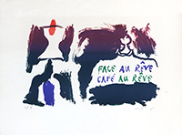 Lithographie originale signée de  : Face au rêve, Café au rêve