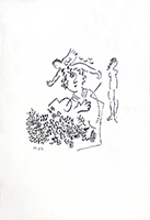 Original etching de Chagall Marc : Essay for a Christmas card of Aimé Maeght