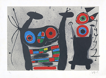 Original signed lithograph de Miro Joan : Le lézard aux plumes d'or