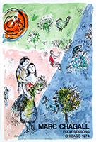 Originales Plakat Mourlot Drucker de Chagall Marc : Four seasons