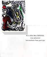 Original lithograph de Chagall Marc : Greeting card for 1972