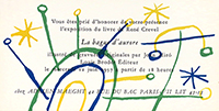 Exhibition invitation card de Miro Joan : La bague d'aurore