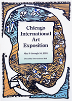 Original exhibition poster de Alechinsky Pierre : Chicago International Art Exposition