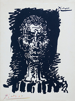 Signed lithograph de Picasso Pablo : Portrait of a man