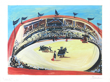 Signed aquatint de  : La corrida