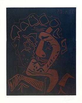 Linogravure originale signée de  : Tête d'Histrion