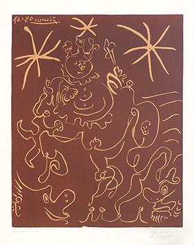 Linogravure originale signée de  : Carnaval