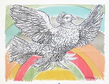 Lithographie originale de  : Colombe à l'arc en ciel