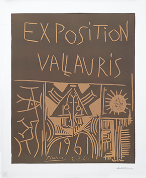Original signed linocut de Picasso Pablo : Exhibition Vallauris 1961
