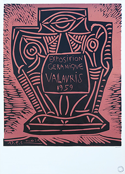 Original linocut de  : Ceramic Exhibition 1959