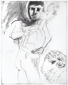 Reproduction de Picasso Pablo : L'homme au mouton II