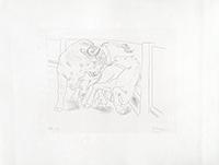Signierte originale Radierung de  : Taureau et cheval dans l'arène