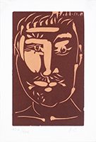 Original linocut de Picasso Pablo : Man with moustache