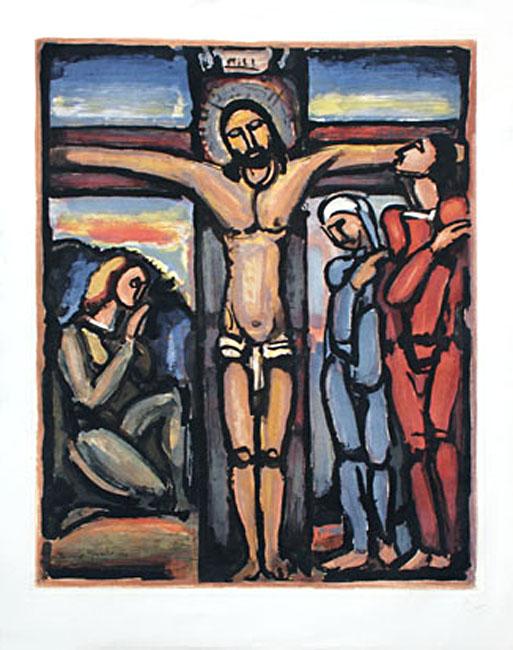 Rouault Georges : Gravure : Christ en Croix