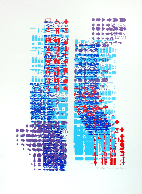 Xenakis Constantin : Original signed screenprint : Composition