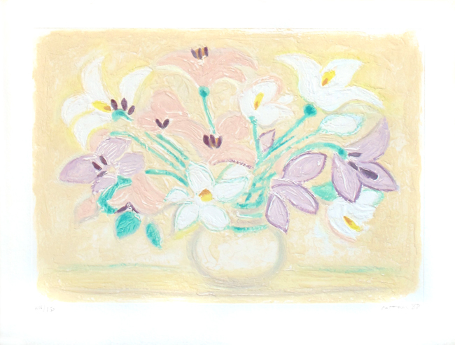 Cottavoz Andr� : Signed etching carborundum : Bouquet de fleurs