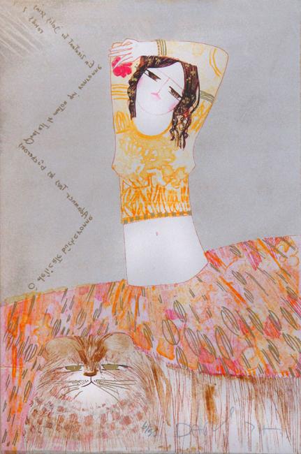 Dariush Mohajer : Original signed lithograph : � d�licate b�cheronne