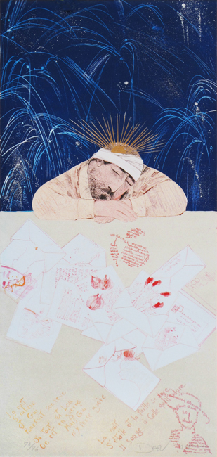 Dariush Mohajer : Original signed lithograph : Guillaume Apollinaire, la nuit s'ach�ve