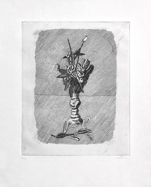 Morandi Giorgio : Gravure originale signée : Rose in boccio in un vaso