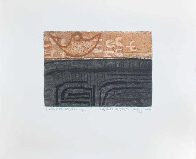 Kalinowski Horst Egon : Original signed etching : Signe d'un envol