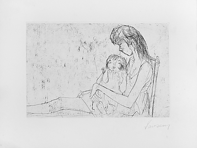Jansem Jean : Original etching drypoint : Woman and Child