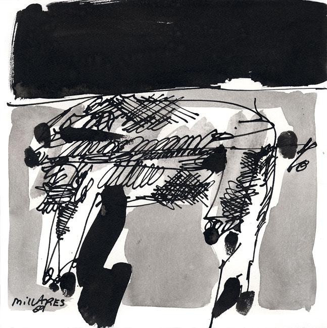 Millares Manolo : Oeuvre unique signée : Animal dans le desert