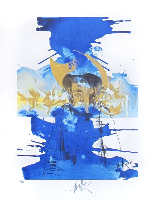 Moretti Raymond : Original signed lithograph : Jacques Brel, L'homme de la Mancha