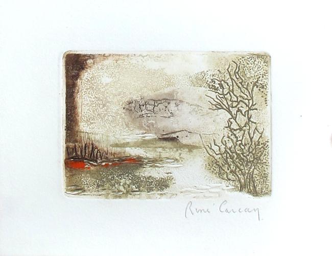 Carcan Ren� : Original signed etching : Landscape
