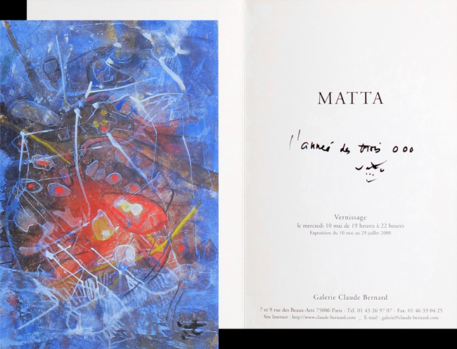 Matta Roberto : Handwritten document : Gallery Claude Bernard