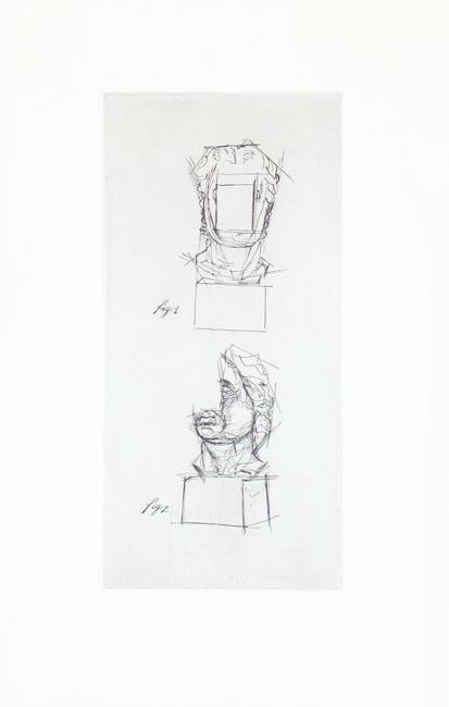 Sosno Sacha : Original etching : Etude Tête au carré I